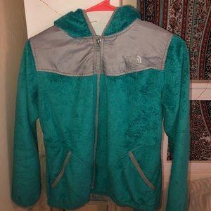 aqua fuzzy north face jacket
